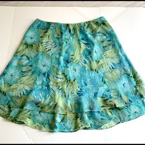 Blue Green Floral Poly Full Skirt Lined Elastic